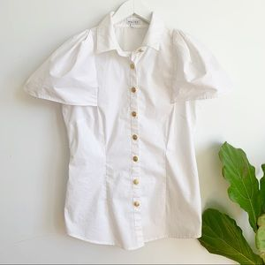 Walter Baker White Puff Sleeve Button Down Shirt 8